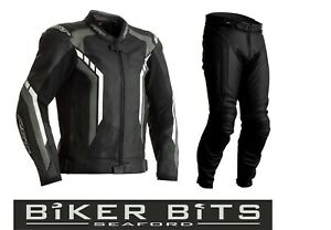 RST AXIS 2020 Black/Grey/White CE Men's Leather Budget Jacket & Trousers 2PC Set