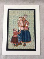 1932 Vintage Dutch Stampa Ricamo Folk Costume Bambino Bambina Cromolitografia