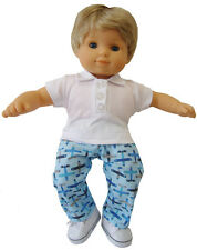 3 PC Airplane Outfit for Bitty Baby Boy Twin Doll Clothes Sew Beautiful