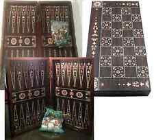 "Yenigun Turkish Backgammon Set Game Case, Handmade Wood Board 15"""