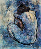 "Blue Nude - 20x24""Hand Painted Pablo Picasso Oil Painting On Canvas Wall Art"
