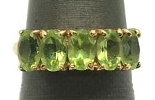 10K Yellow Gold Oval Faceted Green Peridot Pave Cocktail Band Ring Size 5.75