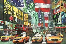 Statue of Liberty, Broadway, Yellow Cabs, Bus etc. New York City, NY -- Postcard