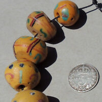 12 old antique venetian bicone fancy beads african trade #1764