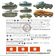Peddinghaus 1/72 German Tank / AFV Markings Greece 1941 WWII (7 vehicles) 2373