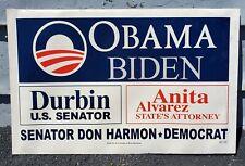 VINTAGE 2007 2008 DOUBLE SIDED OBAMA BIDEN DURBIN CAMPAIGN SIGN CHICAGO LAND IL