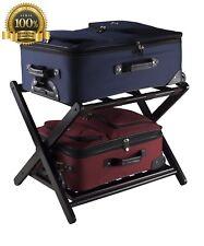 New Hotel Quality Wooden Luggage Rack With Shoe Shelf Folds Flat Black Espresso