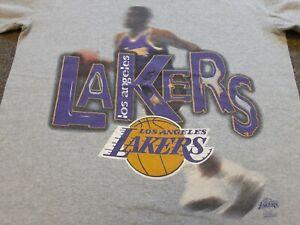 Vintage 90s 1996 Los Angeles Lakers Blur Big Print T Shirt Heather Gray Medium M