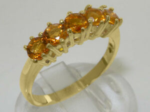 14ct Yellow Gold Natural Citrine Womens Eternity Ring - Sizes J to Z