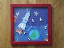 Laura Ashley Framed Childrens Astronaut Space Rocket Ship 3D Wall Art 12x12