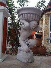 Gartenfiguren mit Pflanzschale Steinguss, 93 cm, Blumenschale, Atlas, Gartendeko