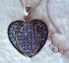 2.20 Ct Tanzanite Gemstone Sterling Silver 925 Heart Pendant Necklace