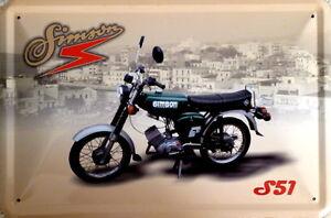 Blechschild 20x30 cm - Simson S51 / Moped / DDR