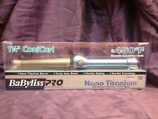 """BABYLISS PRO NANO TITANIUM BARREL CONICURL TAPERED 1 1/4 """" TO 3/4"""" CURLING IRON"""