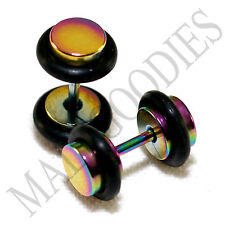 2116 Fake Cheater Illusion Faux Plugs 16G Steel 2G 6mm Rainbow Multi-Color Small