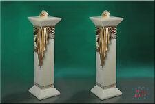 2 Set Säule Lampe Stehlampe Blumensäule Säulen Mäander Säule mit Licht Stuckgips