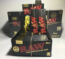 x1 Box - RAW Black Extra Fine King Size Slim Rolling Papers - 50 Packs
