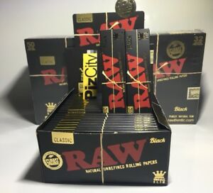 *£29.95* x1 Box - RAW Black Extra Fine King Size Slim Rolling Papers - 50 Packs