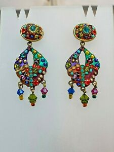 Michal Golan 24K gold Rainbow dangle Earrings w/ Swarovski crystals handmade