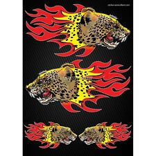 Stickers autocollants Moto casque réservoir Flames Panthere  Format A4 2503