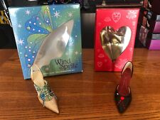 Valentines Day Just the Right Shoe lot of 2 Jeweled Heart & Wind Sprite