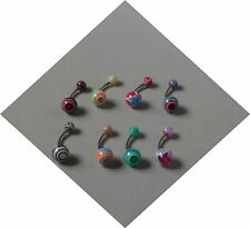 Pack of 8 Surgical Steel 1.6mm Belly Bars with Acrylic Balls Buy 2 Get 1 Free
