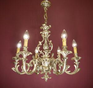 "SOLID FINE SILVER NICKEL CHANDELIER CEILING LIGHTING LAMP 6 L Ø 26"" HOTEL FOYER"