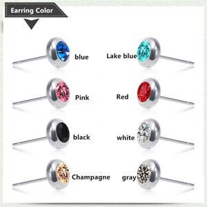 Exquisite simple men's stainless steel Multi Color Zircon Earrings punk jewelry