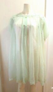 Vintage Peignoir Robe Shadowline Green Sheer Nylon Lingerie Negligee Lace Embroi