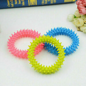 1 x Dog Toy Puppy Soft Rubber Teething Play Pet Train Healthy Gum Chew Ring 0057