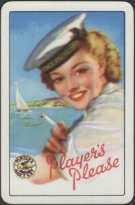 Playing Cards Single Card Old Vintage PLAYERS PLEASE CIGARETTES Smoking Girl  AE