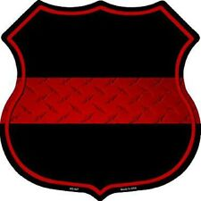 Thin Red Line Firefighter Metal Novelty Highway Shield Sign