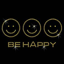 Be Happy Smiley Face Crystal Iron On T Shirt Design Transfer