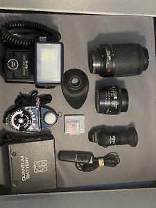 Nikon Lens & Accessories, AF Nikkor 24mm & 55-200mm, Nikon DR-6, W/Backpack
