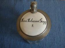 antiker Bierkrug, Glaskrug, Zinndeckel und Porzellanplatte, um 1900 1/2L, Gugg