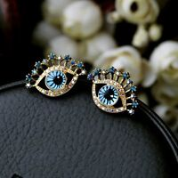 """Betsey Johnson """"The Eyes Have It"""" Pink AB Crystal & Gold 3D Stud Earrings"""