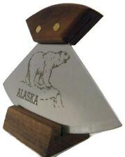 "Alaska Ulu Knife Walnut Handle Polar Bear Etched 6"" Blade"
