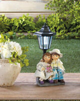 country girl boy outdoor statue lantern white LED path SOLAR powered light lamp