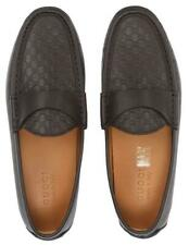 NEW GUCCI MEN'S BROWN GG MOCCASINS LOAFERS DRIVER SHOES 9.5/US 10