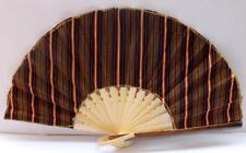 Handmade Batik Bamboo Folding Hand Fan Brown Red (S) New