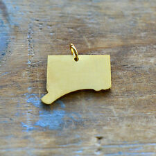 Connecticut State Charm - Brushed 24k Gold Plated Stainless Steel Pendant