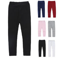 Kids Girls CASUAL WINTER THERMAL Plain COTTON LEGGINGS Long Solid Pants 2-7Y
