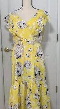 Eliza J Womens Sundress Yellow Beige Floral Flutter Sleeves Midi V Neck 14 New