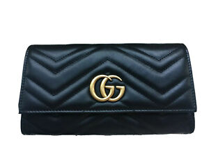 New Authentic GUCCI GG Marmont Continental Wallet Black Leather