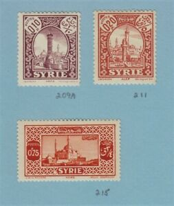 SYRIA French Mandate Stamps Scott 209A, 211, 215, J33 MNH/MH