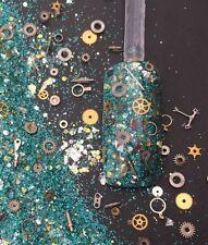 glitter mix acrylic gel nail art     TIME MACHINE