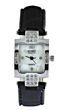 Censi Women's Sliver Diamante Square Dial Black PU Leather Strap Analog Watch