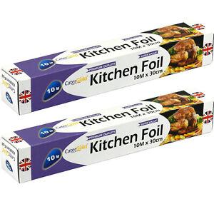 2 X Catering Kitchen Aluminium Foil 10M x 30 cm Wrapping Baking Tin Foil