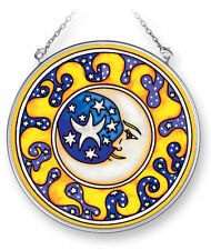"""AMIA STAINED GLASS SUNCATCHER 4.5"""" ROUND MOON AND STARS   #5319"""