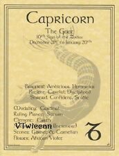 * CAPRICORN Parchment Poster ~ Wiccan Pagan Book of Shadows FREE BONUS LOOK!
